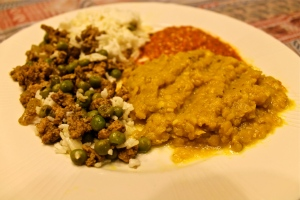 Turkey and peas with other treats from Jaffrey's Quick & Easy book (red pepper & almond relish and a pretty simple dal)