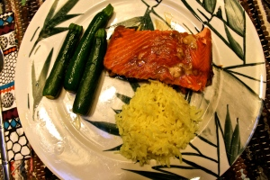Penultimate supper of 2nd easiest salmon and coconut rice (and also cute baby zukes) photo by REG