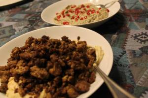 Ground turkey (looking beef-like thanks to pomegranate molasses) and hummus  Photo by REG