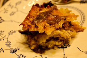 eggplant & hazelnuts--but no tomato sauce in this lasagna photo by REG