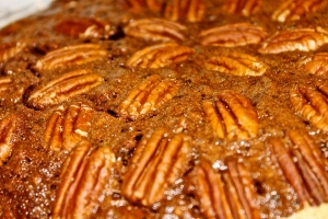 This year's cocoa pecan pie photographed by someone who does love it--REG